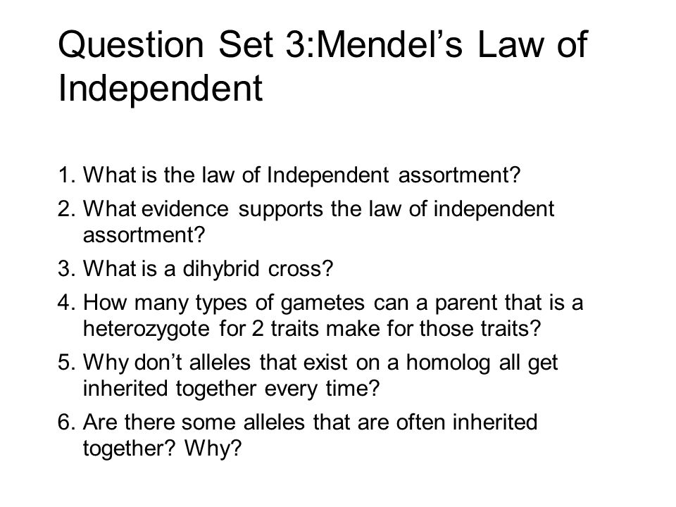 a brief explanation of mendels law of independent assortment and what it states
