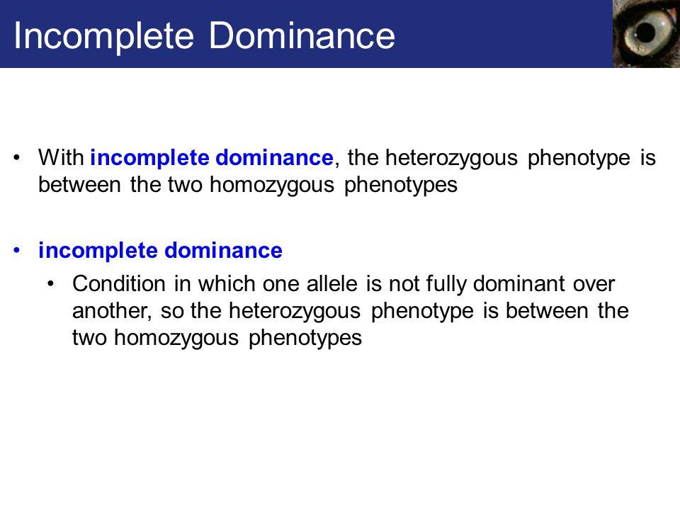 Incomplete Dominance With incomplete dominance, the heterozygous phenotype is between the two homozygous phenotypes.