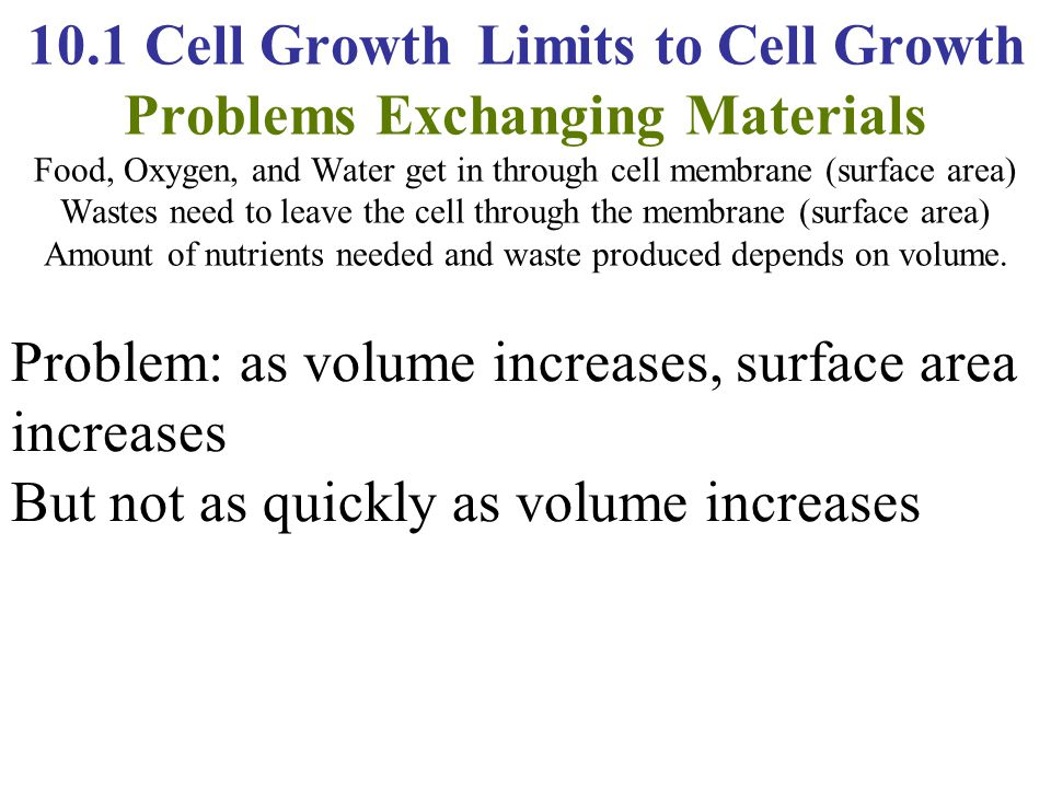 10.1 Cell Growth Limits to Cell Growth Problems Exchanging Materials Food, Oxygen, and Water get in through cell membrane (surface area) Wastes need to leave the cell through the membrane (surface area) Amount of nutrients needed and waste produced depends on volume.