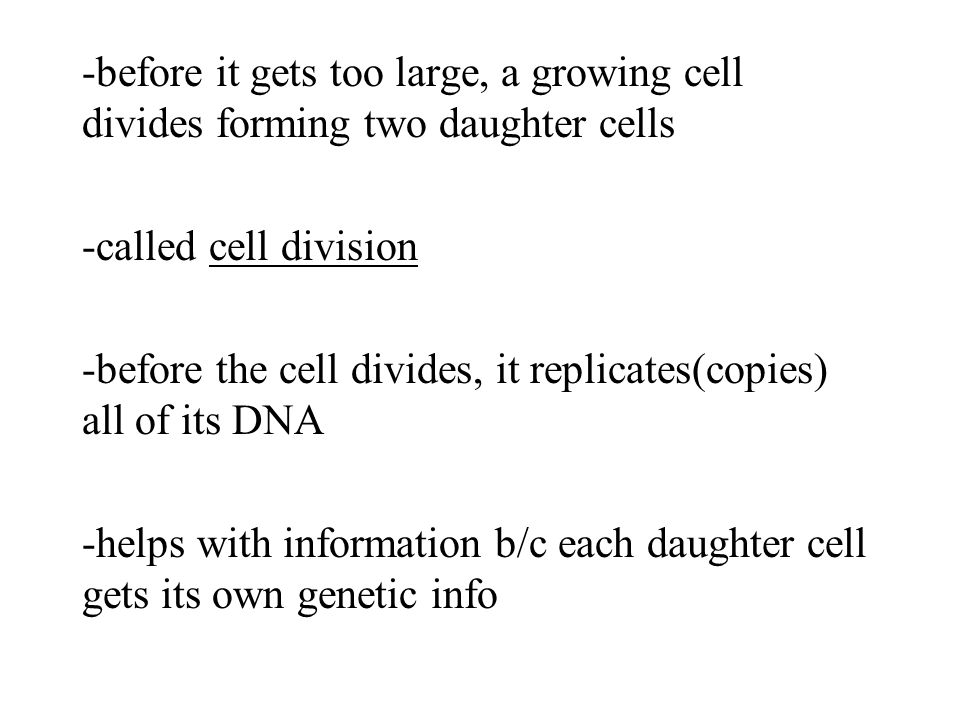 -before it gets too large, a growing cell divides forming two daughter cells -called cell division -before the cell divides, it replicates(copies) all of its DNA -helps with information b/c each daughter cell gets its own genetic info