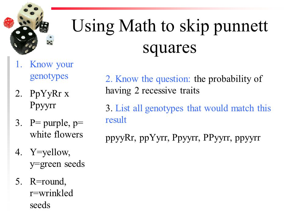 Using Math to skip punnett squares