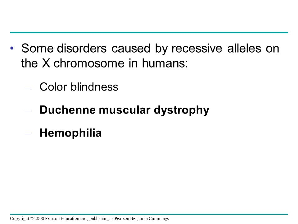 Some disorders caused by recessive alleles on the X chromosome in humans: