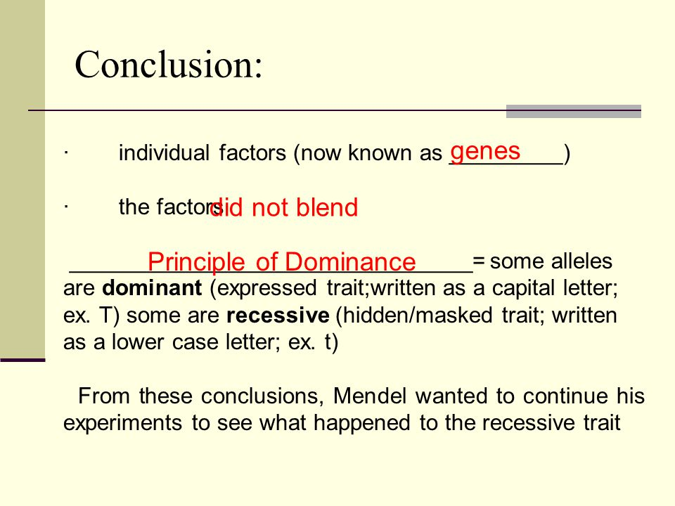 Conclusion: genes did not blend Principle of Dominance
