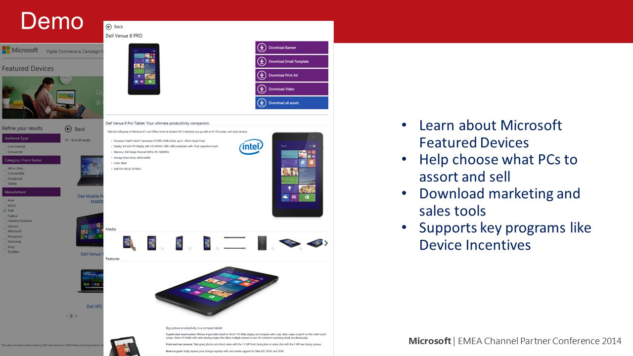 Demo Learn about Microsoft Featured Devices