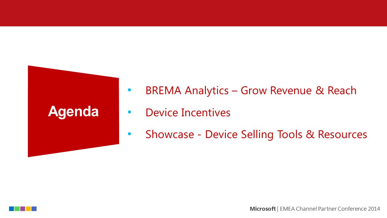 Agenda BREMA Analytics – Grow Revenue & Reach Device Incentives