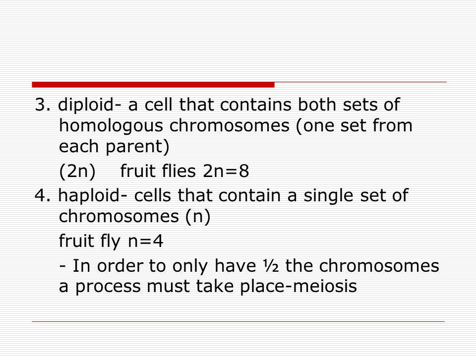 3. diploid- a cell that contains both sets of homologous chromosomes (one set from each parent)