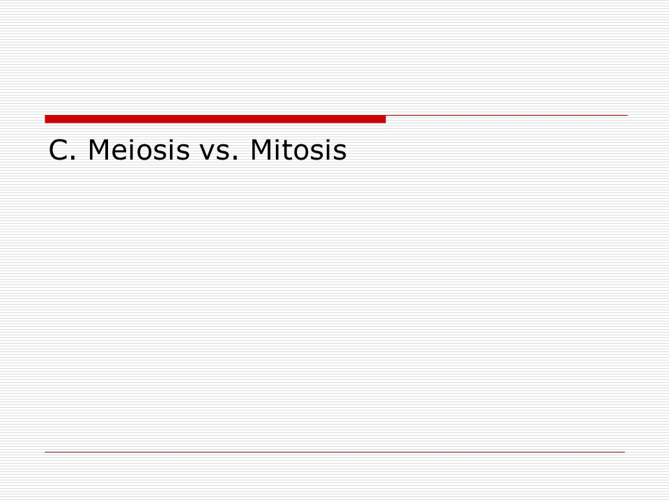 C. Meiosis vs. Mitosis