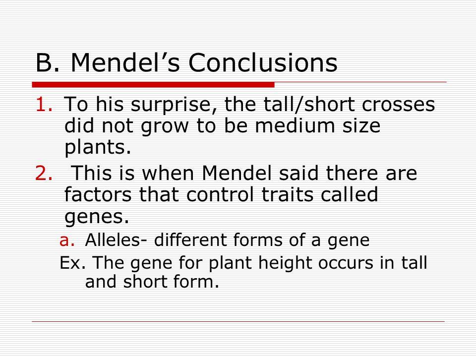 B. Mendel's Conclusions