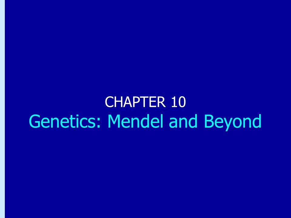 CHAPTER 10 Genetics: Mendel and Beyond