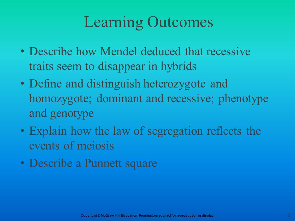 Learning Outcomes Describe how Mendel deduced that recessive traits seem to disappear in hybrids.