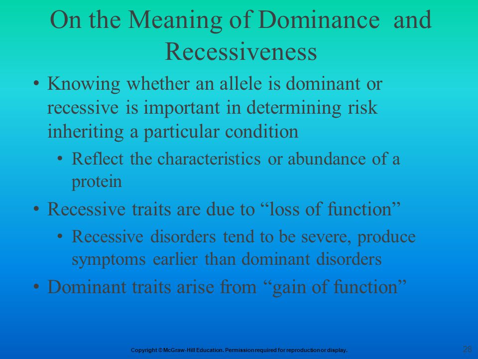 On the Meaning of Dominance and Recessiveness