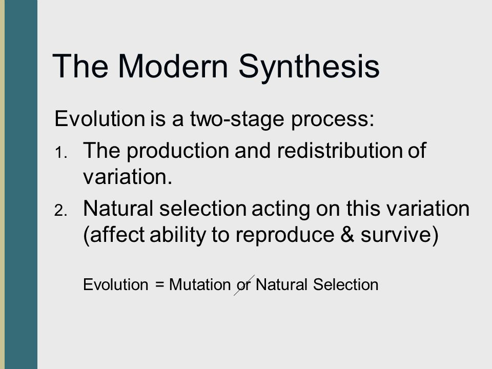 The Modern Synthesis Evolution is a two-stage process: