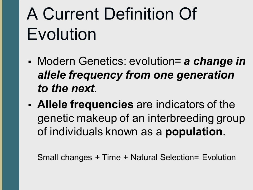 A Current Definition Of Evolution
