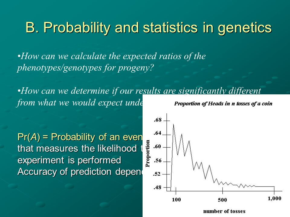 B. Probability and statistics in genetics
