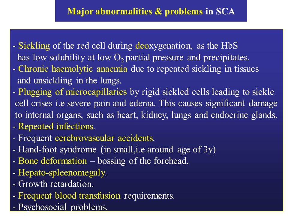 Major abnormalities & problems in SCA