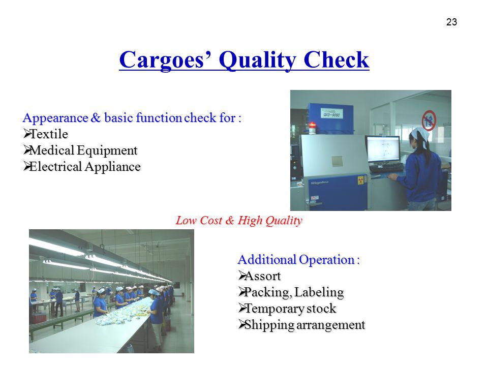 Cargoes' Quality Check
