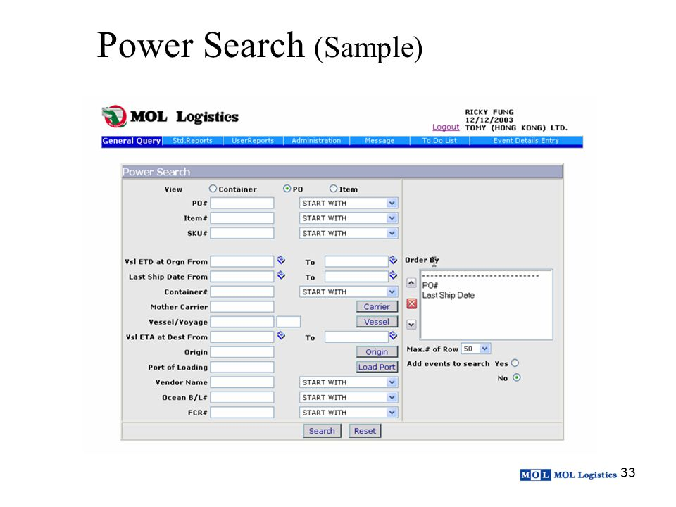Power Search (Sample)