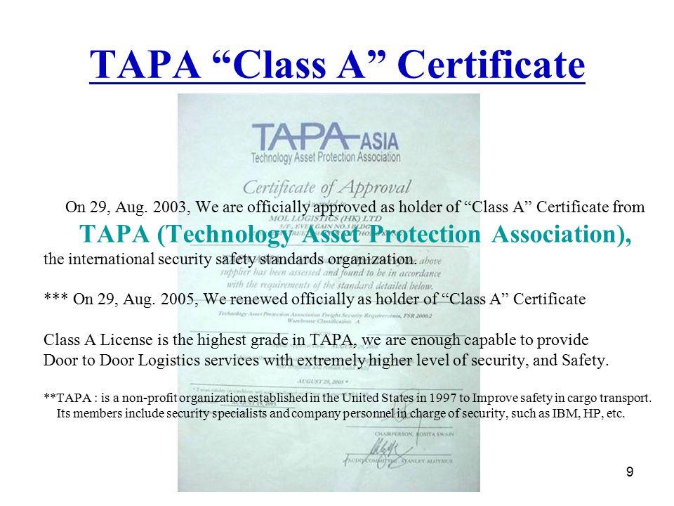 TAPA Class A Certificate