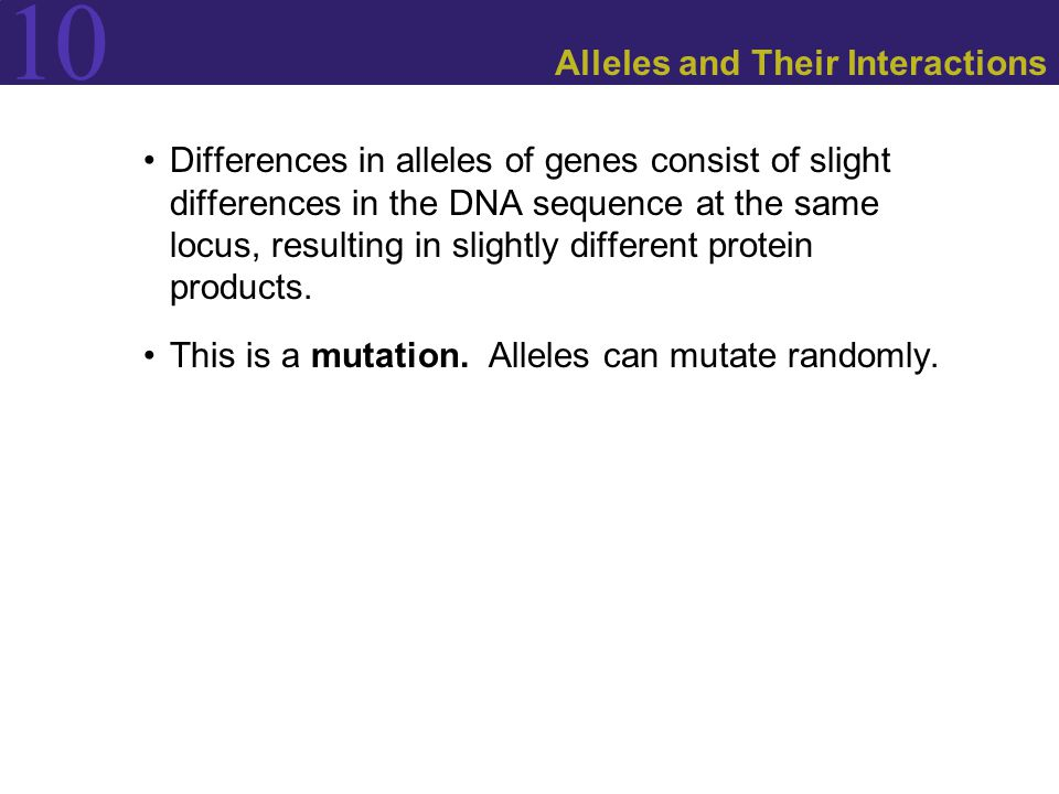 Alleles and Their Interactions
