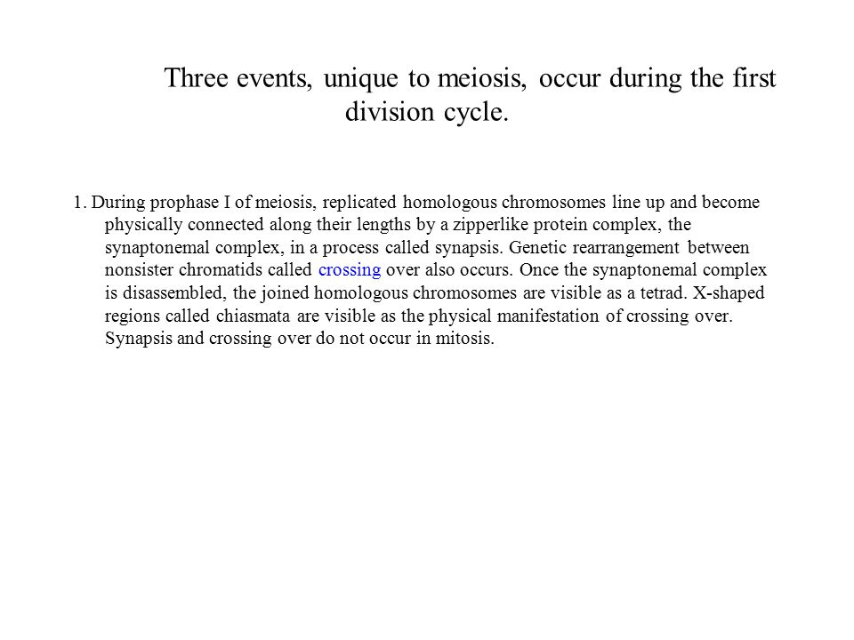 Three events, unique to meiosis, occur during the first division cycle.