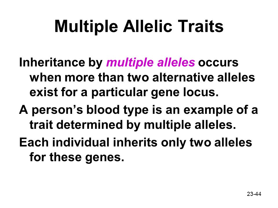 Multiple Allelic Traits