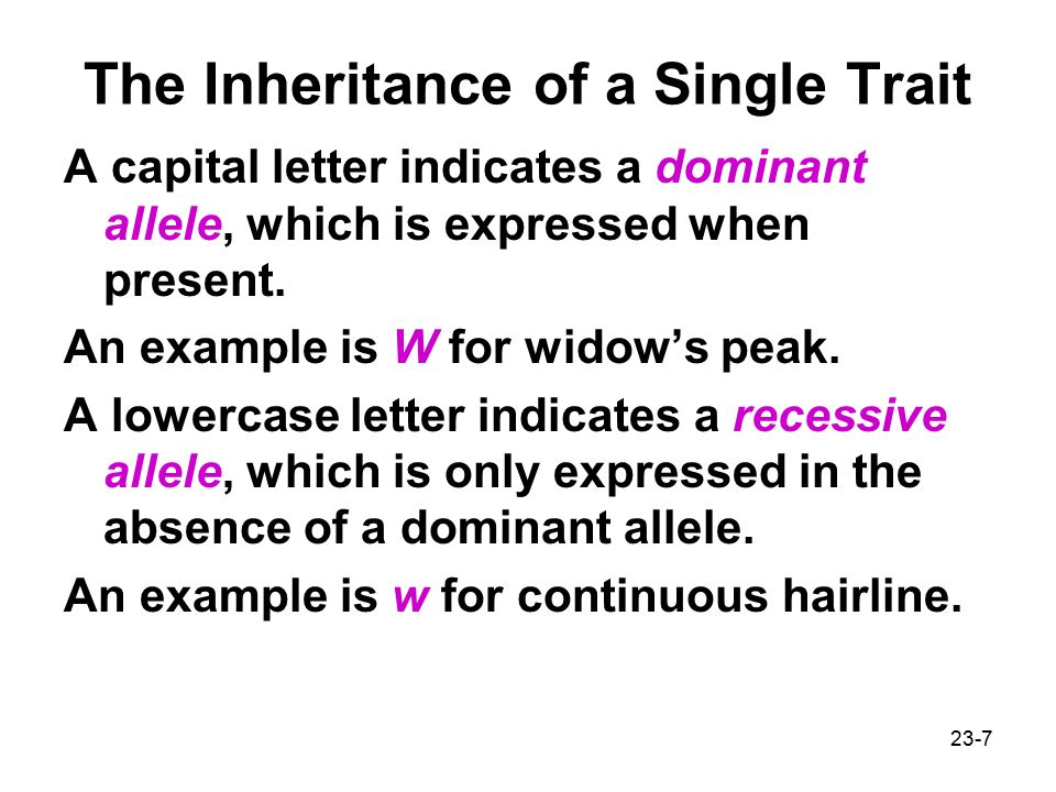 The Inheritance of a Single Trait