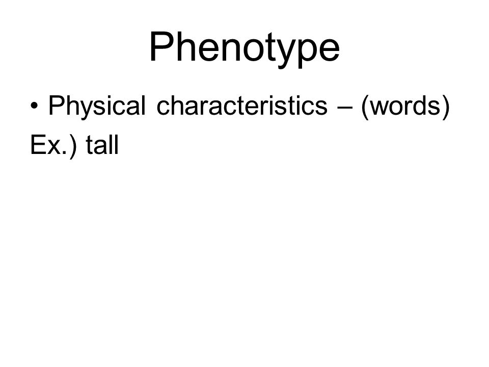 Phenotype Physical characteristics – (words) Ex.) tall