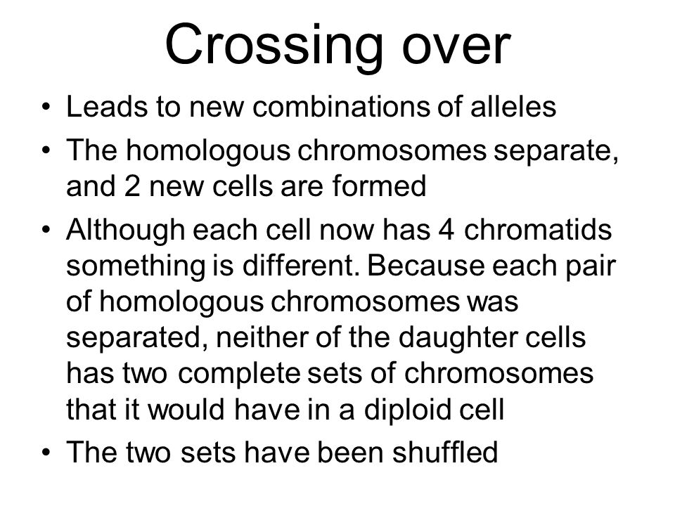 Crossing over Leads to new combinations of alleles