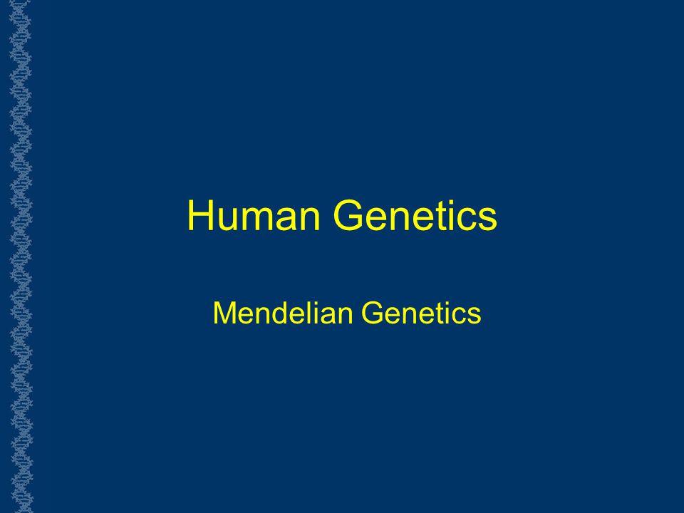 Human Genetics Mendelian Genetics