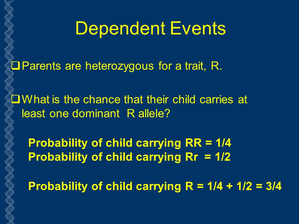 Dependent Events Parents are heterozygous for a trait, R.