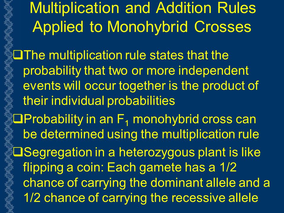 Multiplication and Addition Rules Applied to Monohybrid Crosses