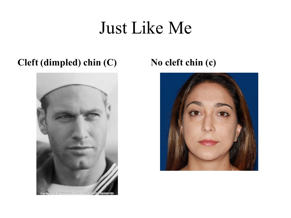 Just Like Me Cleft (dimpled) chin (C) No cleft chin (c)