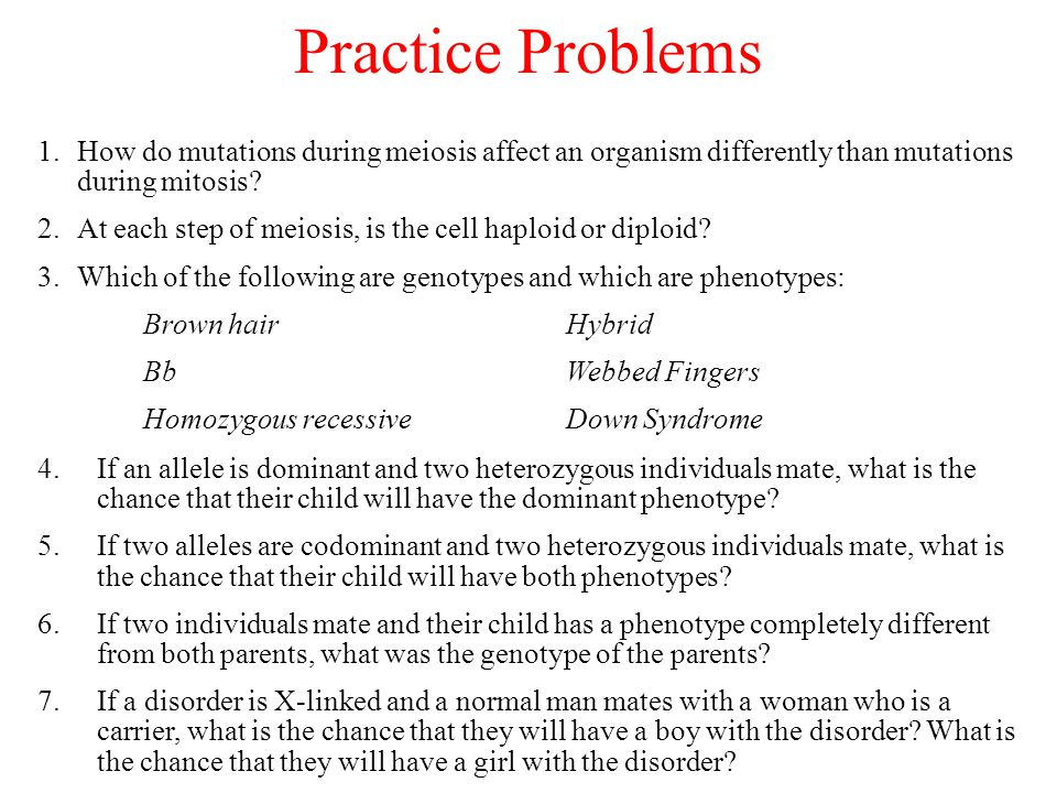 Practice Problems How do mutations during meiosis affect an organism differently than mutations during mitosis