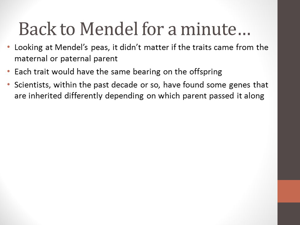 Back to Mendel for a minute…