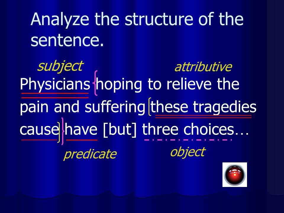 Analyze the structure of the sentence.