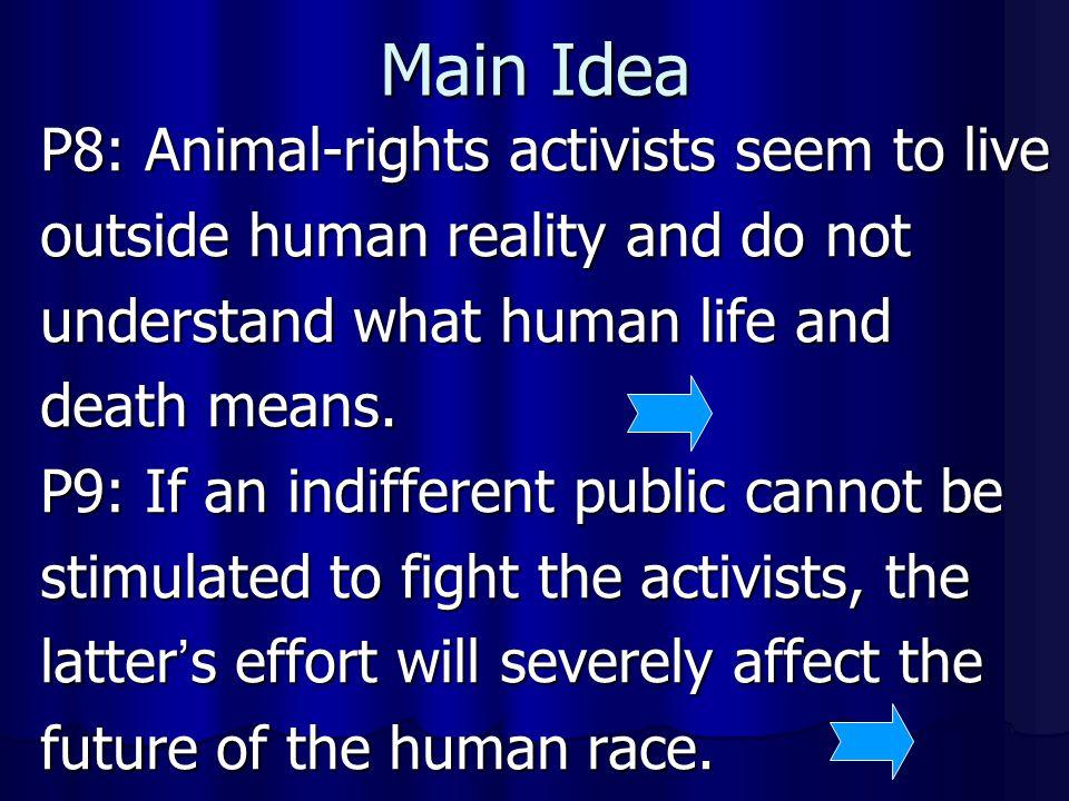 Main Idea P8: Animal-rights activists seem to live