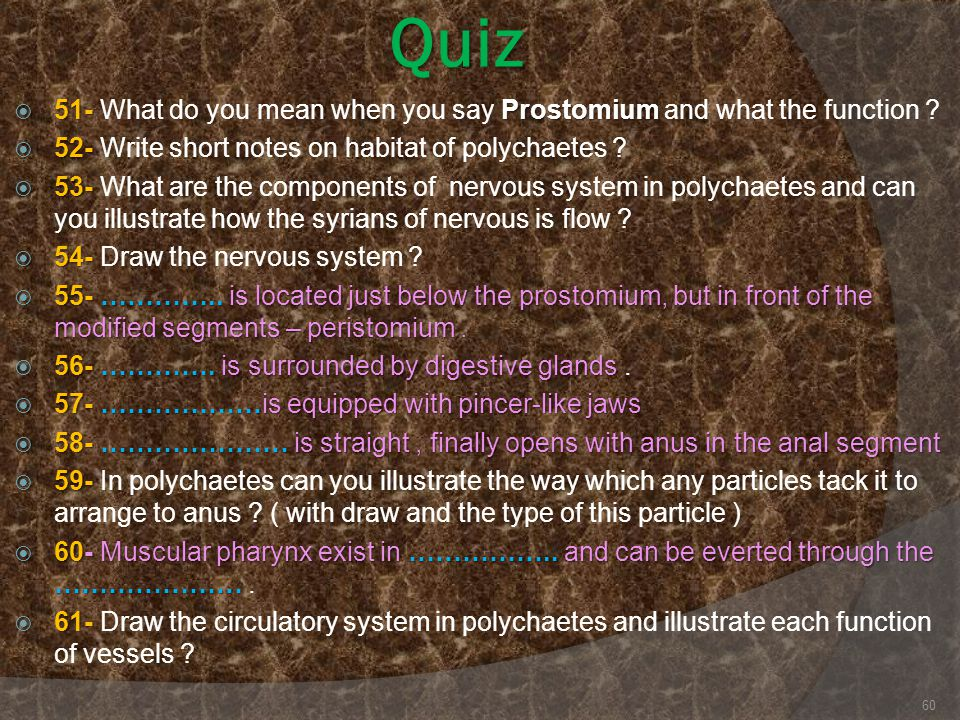 Quiz 51- What do you mean when you say Prostomium and what the function 52- Write short notes on habitat of polychaetes
