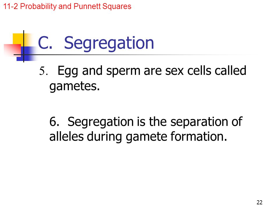 C. Segregation 5. Egg and sperm are sex cells called gametes.