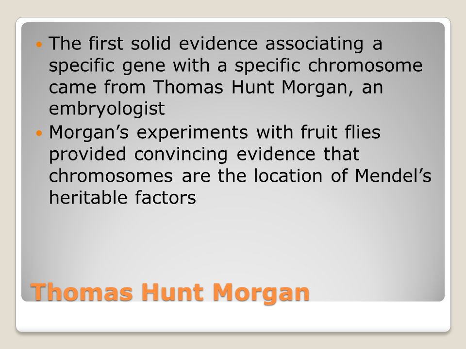 The first solid evidence associating a specific gene with a specific chromosome came from Thomas Hunt Morgan, an embryologist