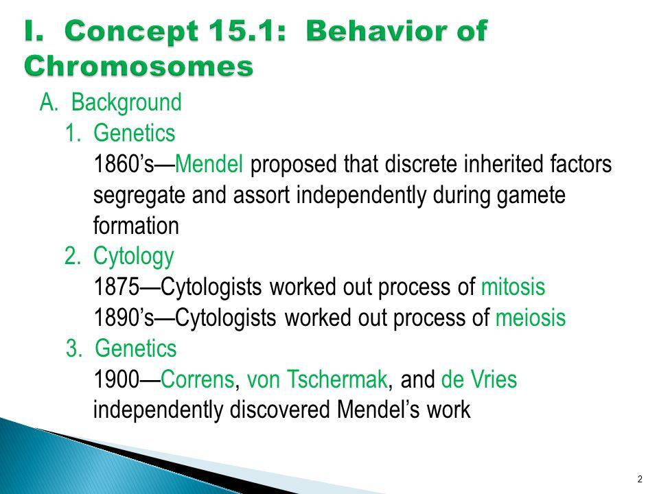 I. Concept 15.1: Behavior of Chromosomes