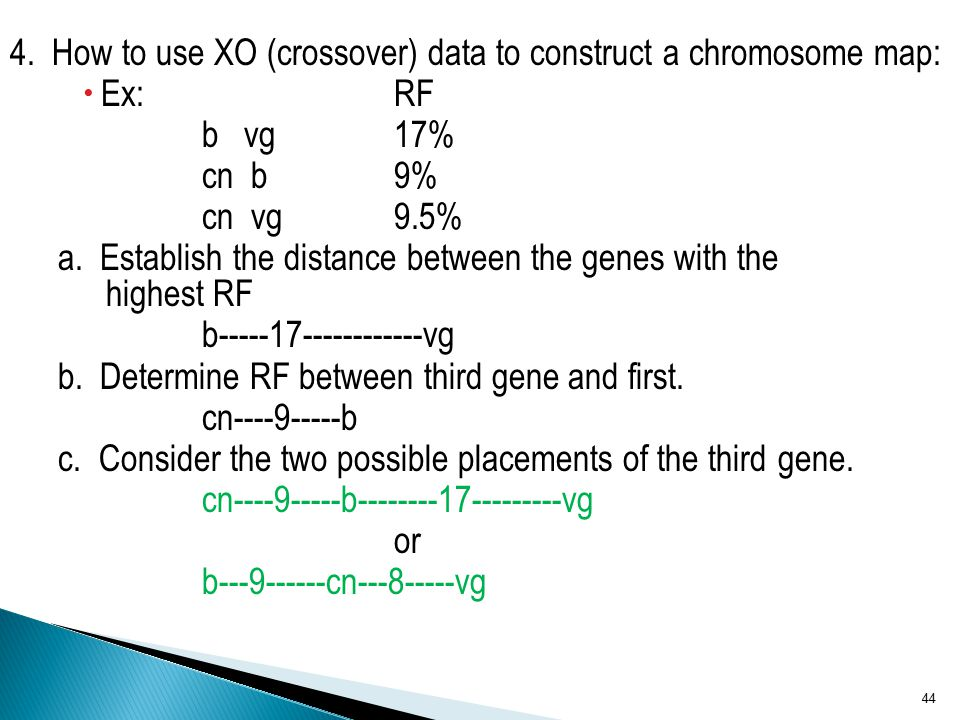 4. How to use XO (crossover) data to construct a chromosome map: