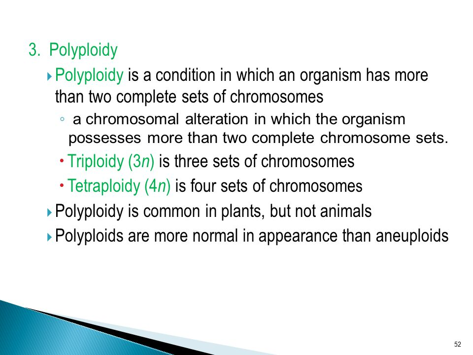 Triploidy (3n) is three sets of chromosomes