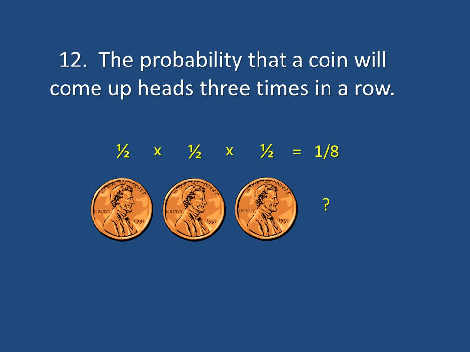 12. The probability that a coin will come up heads three times in a row.