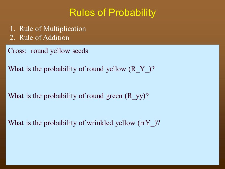 Rules of Probability 1. Rule of Multiplication 2. Rule of Addition