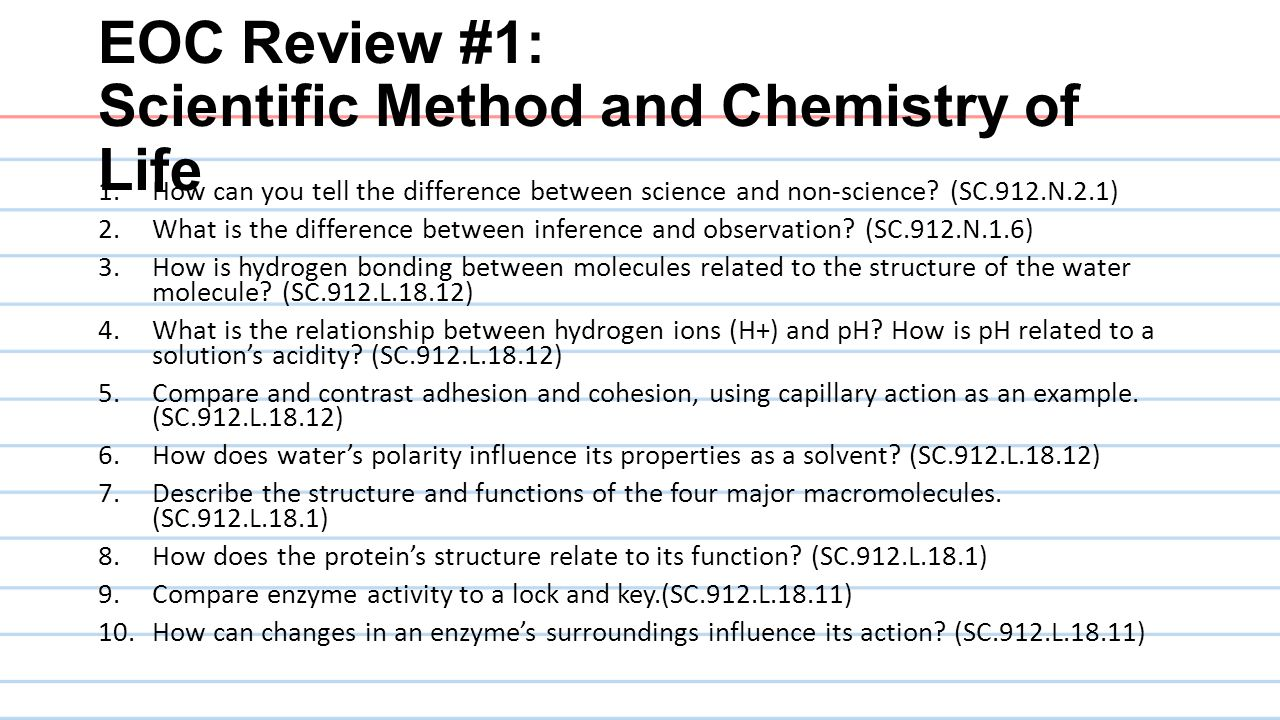 EOC Review #1: Scientific Method and Chemistry of Life