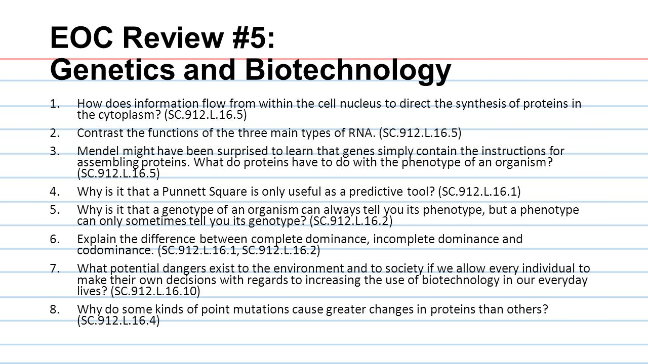 EOC Review #5: Genetics and Biotechnology