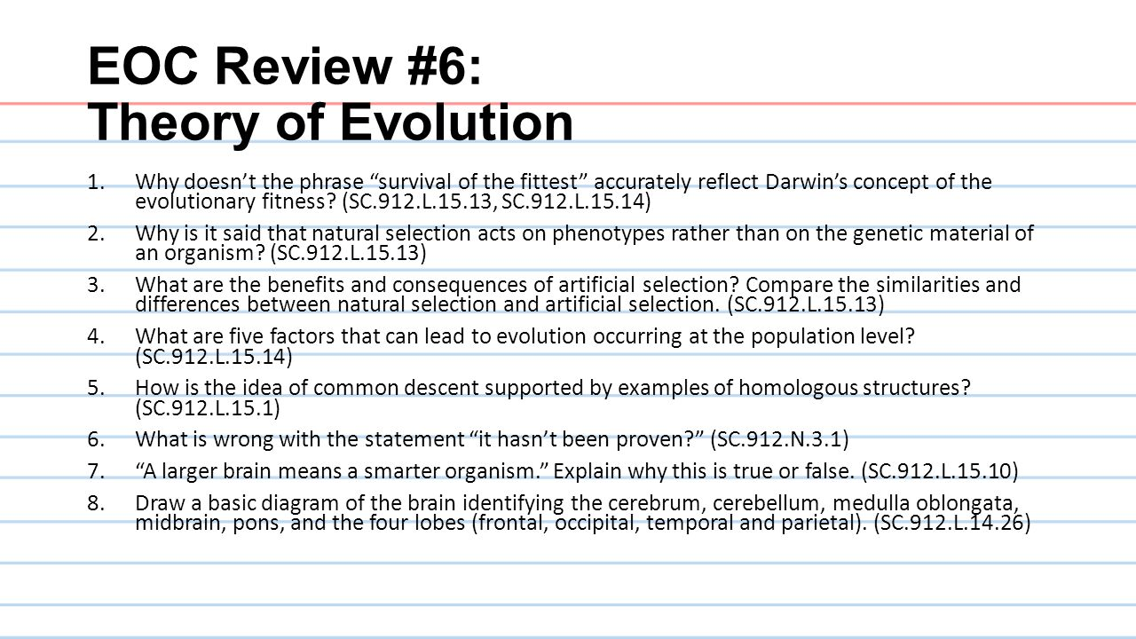 EOC Review #6: Theory of Evolution