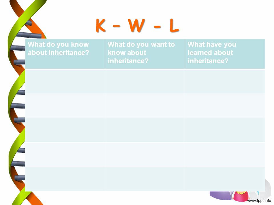 K – W - L What do you know about inheritance