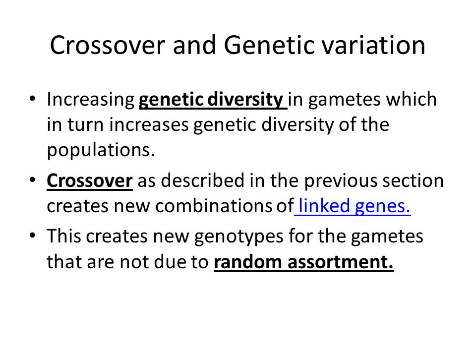 Crossover and Genetic variation