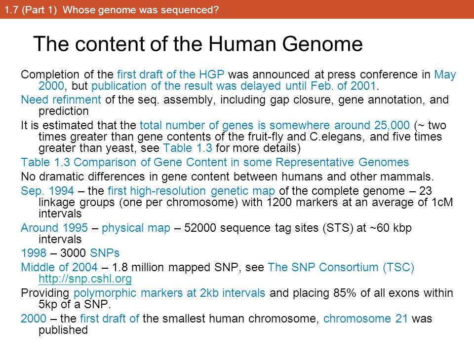 1.7 (Part 1) Whose genome was sequenced